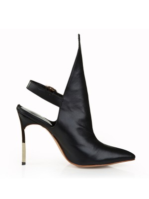 Damer Cattlehide Lær Stiletto Hæl Lukket Toe med Buckle Svart Booties