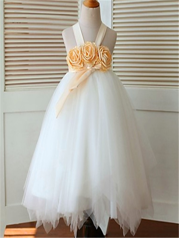 Ball Gown Sleeveless Straps Hand-made Flower Tea-Length Tulle Flower Girl Dresses