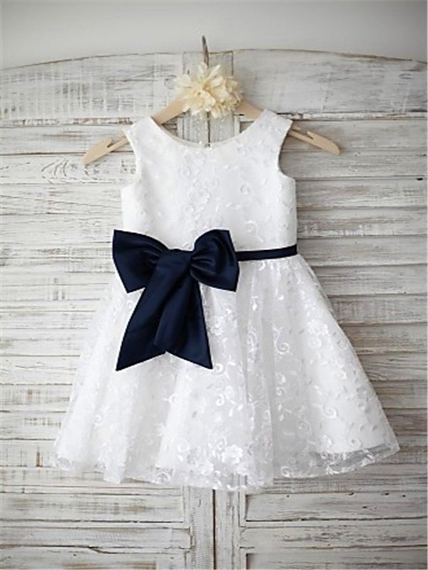 A-line/Princess Scoop Sleeveless Bowknot Floor-Length Lace Flower Girl Dresses