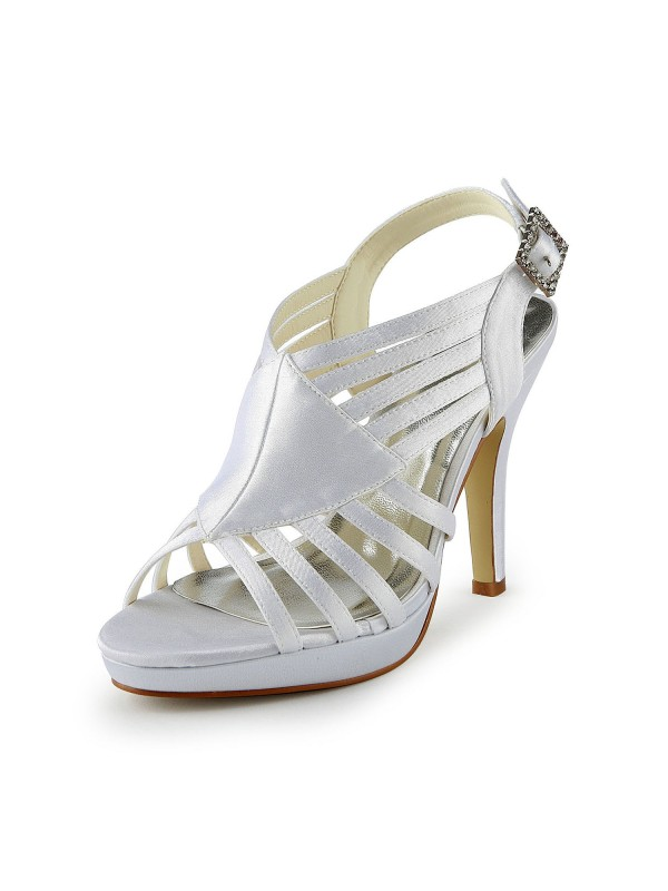 Damer Gorgeous Satin Stiletto Hæl Sandals med Buckle Hvit Bryllupssko