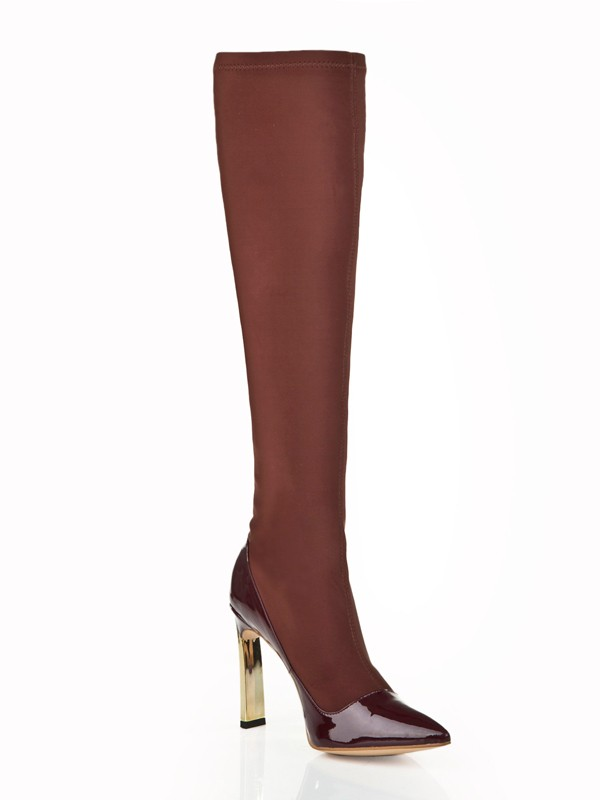 Damer Stiletto Hæl Elastic Lær med Swarovski Knee High Chocolate Støvler