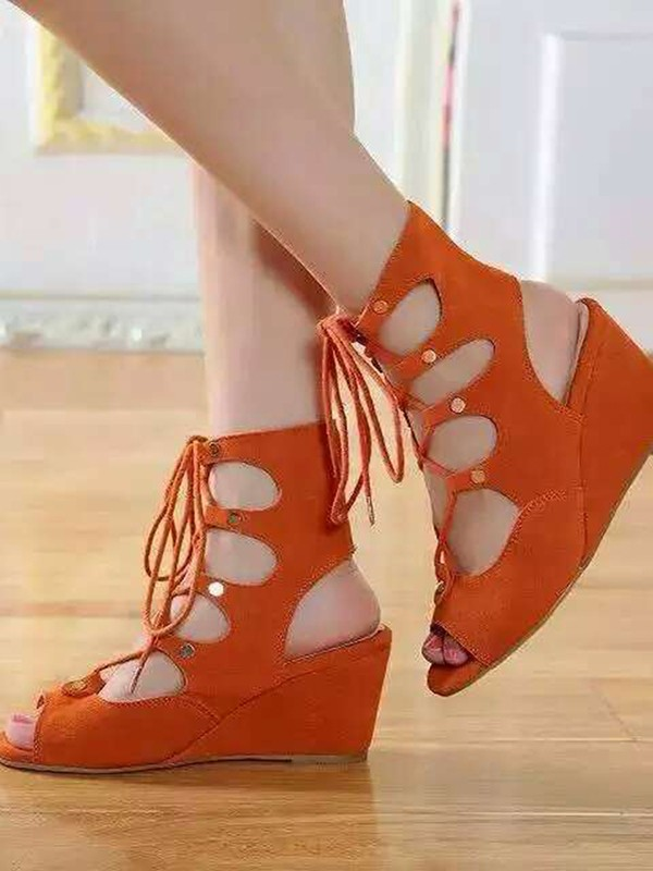 Damer Wedge Hæl Suede Åpen skotupp med Blonder-up Sandal Ankle Orange Støvler